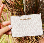 Michael Kors Jet Set Small Top Zip Coin Case ID Vanilla MK