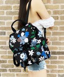 Kate Spade Carley Floral Bold Bloom Flap Drawstring Cargo Backpack Canvas Black