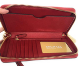 Michael Kors Jet Set Travel Large Phone Wristlet Scarlet Red Leather Wallet - Gaby's Bags