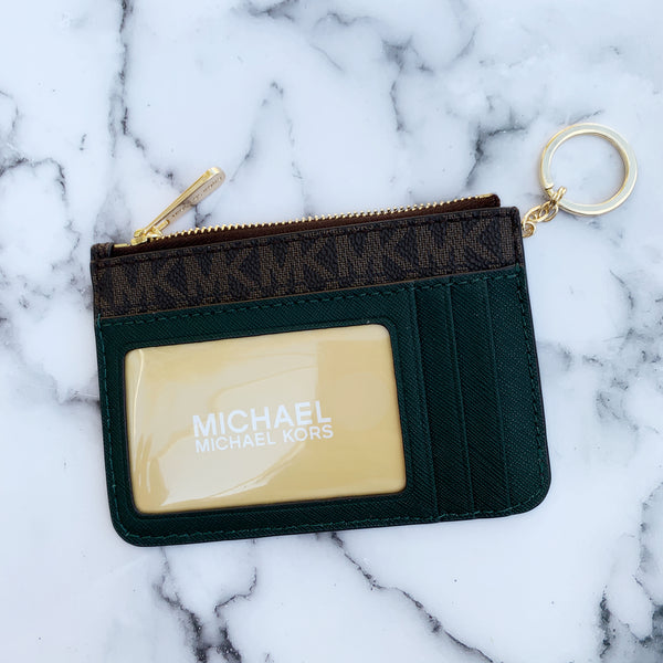 Michael Kors Jet Set Travel Top Zip Coin Pouch ID Holder Brown Racing Green - Gaby's Bags