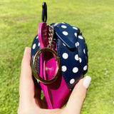 Kate Spade Scarlette Snail Coin Purse Wallet Key Fob Nightcap Pink Multi Dot