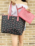 Coach F72722 Reversible City Tote Candy Print Pink Blue - Gaby's Bags