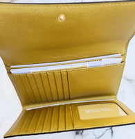 Michael Kors Jet Set Travel Large Trifold Wallet Old Gold - Gaby's Bags