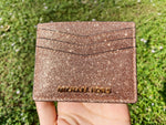 Michael Kors Giftables Large Card Holder Rose Gold Glitter - Gaby's Bags