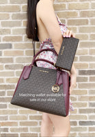 Michael Kors Kimberly Large East West Satchel Brown MK Mulberry Multi