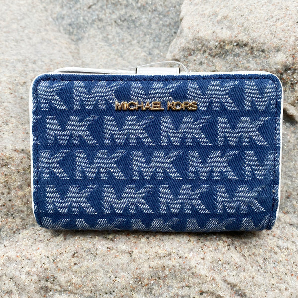 Michael Kors Jet Set Travel Bifold Zip Coin wallet Signature MK Jacquard Denim
