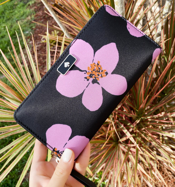 Kate Spade Dawn Grand Flora Neda Zip Around Continental Wallet Black Pink Floral