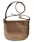 Michael Kors Bedford Jacquard Convertible Shoulder Bag Canvas MK Beige Brown - Gaby's Bags