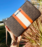 Michael Kors Jet Set Travel Large Top Zip Brown MK Tangerine Wristlet Clutch