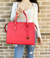 Michael Kors Hope Large Satchel Bag Crossbody Coral Leather