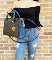 Michael Kors Hope MD Messenger Brown MK Dark Chambray Satchel + Trifold Wallet