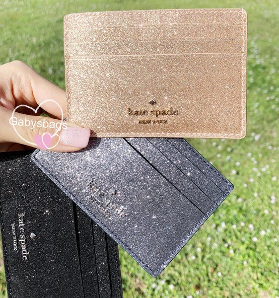 Kate Spade Joeley Glitter Small Slim Card Holder Rose Gold - Gaby's Bags