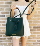 Michael Kors Suri Large Leather Racing Green Bucket Crossbody Drawstring Handbag
