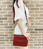 Michael Kors Bedford Pebbled Leather Flap Crossbody Clutch Bag Brandy Red