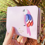 Kate Spade Pink Flock Party Small L-Zip Bifold Wallet Parrot Pink Purple Leather