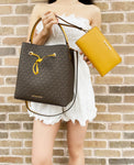 Michael Kors Suri Large Bucket Bag Brown MK Logo + Marigold Double Zip Wristlet