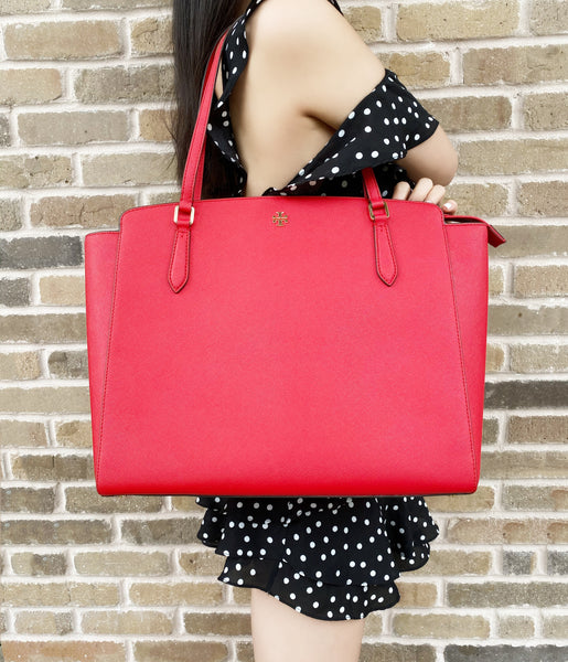 Tory Burch Emerson Large Top Zip Tote Laptop Bag Brilliant Red Leather