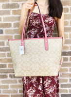 Coach F58292 F58846 Signature City Zip Top Large Tote Light Khaki Pink - Gaby's Bags