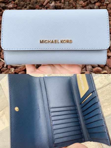 Michael Kors Jet Set Travel Large Trifold Wallet Pale Blue Navy - Gaby's Bags