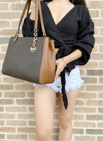 Michael Kors Sofia Large Chain Tote Brown MK Signature + Double Phone Wristlet - Gaby's Bags