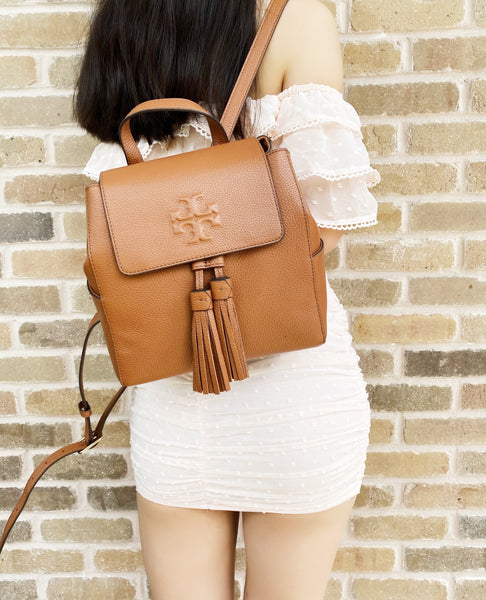 Tory Burch Thea Mini Backpack Tassels Pebbled Leather Classic Tan