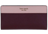 Kate Spade Cameron Large Slim Bifold Wallet Cherry Wood Warm Vellum Pink - Gaby's Bags