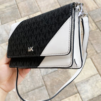 Michael Kors Jet Set Multifunctional Phone Crossbody Bag Black MK Optic White