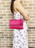 Tory Burch Fleming Small Convertible Shoulder Bag Crossbody Bright Azalea Pink - Gaby's Bags