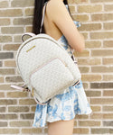 Michael Kors Erin Abbey Medium Backpack MK Signature Vanilla Pink Powder Blush