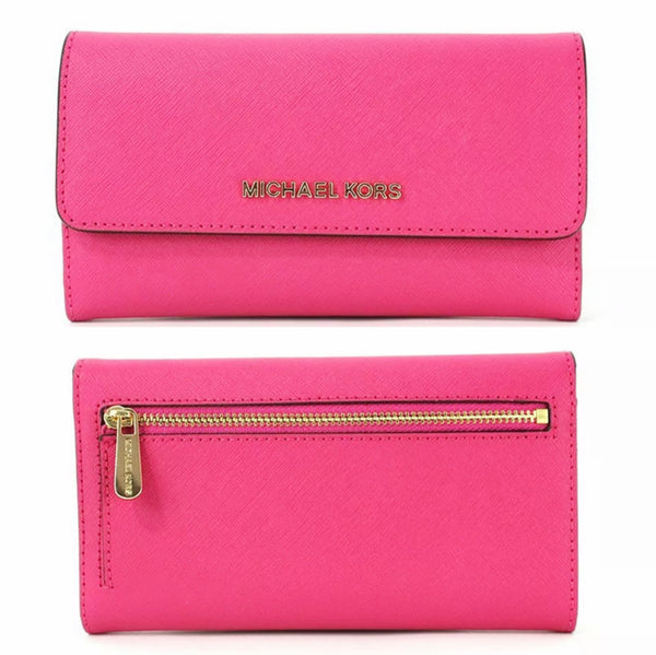 Michael Kors Jet Set Travel Large Trifold Wallet Electric Pink Saffiano - Gaby's Bags