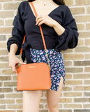 Michael Kors Emmy Large Cindy Dome Crossbody Tangerine Saffiano Leather