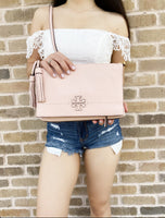 Tory Burch McGraw Leather Fold over Messenger Bag Crossbody Pink Quartz