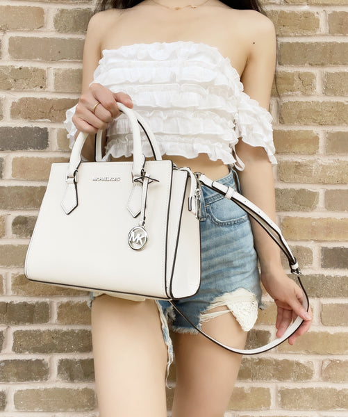 Michael Kors Hope Medium Messenger Small Satchel Crossbody Optic White Leather