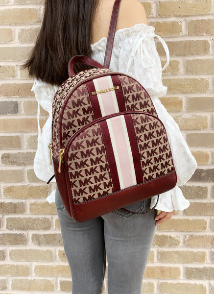 Michael Kors Abbey Medium Jacquard Leather Signature Stripe Backpack Oxblood Red - Gaby's Bags