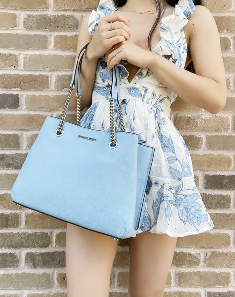 Michael Kors Teagen Large Jet Set Chain Tote Light Sky Blue Pebbled Leather