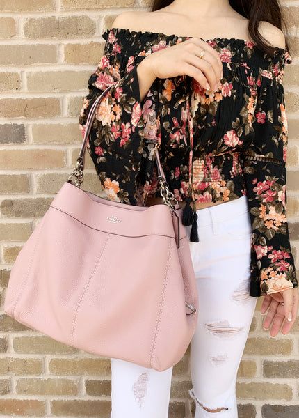 Coach F28997 Lexy Pebble Leather Shoulder Bag Carnation Pink - Gaby's Bags