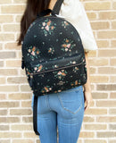 Coach 91530 Medium Charlie Backpack Rose Bouquet Print Midnight Blue - Gaby's Bags