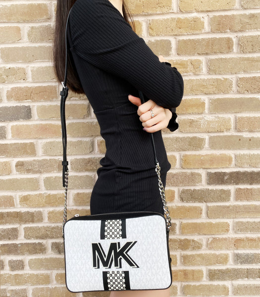 Michael Kors New York City Jet Set Large Bright White Logo EW Crossbody Handbag