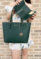 Michael Kors Jet Set Medium Carryall Tote Racing Green + Wallet - Gaby's Bags