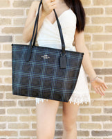 Coach F31974 F80032 City Zip Top Tote Navy Black Multi Plaid - Gaby's Bags