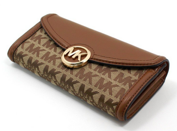 Michael Kors Jet Set Fulton Large Flap Continental Wallet Beige Brown MK Canvas