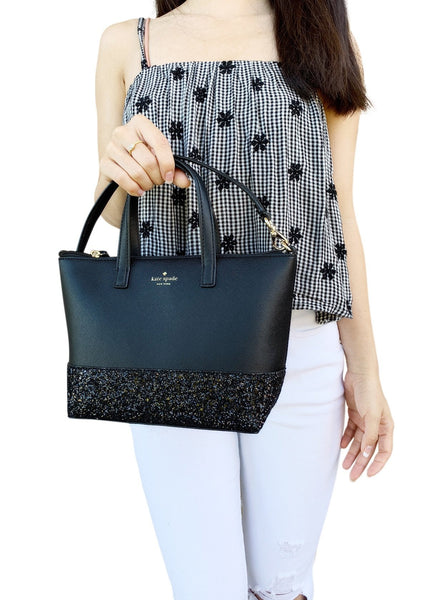 Kate Spade Greta Court Ina Glitter Small Top Zip Satchel Crossbody Black Glitter