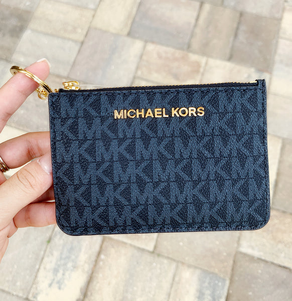 Michael Kors Jet Set Travel Small Top Zip Coin Pouch ID Holder Navy Blue - Gaby's Bags