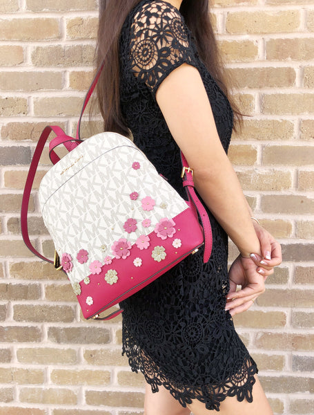 e63a3beee657 ... Michael Kor Emmy Small Backpack Vanilla MK Signature Pink Floral  Glitter - Gaby's ...