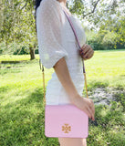 Tory Burch Britten Combo Leather Large Crossbody Messenger Surprise Lily Pink