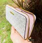 Michael Kors Jet Set Travel 3/4 Zip Continental Wallet Vanilla MK Blossom Pink