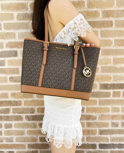 Michael Kors Jet Set Travel Signature Small Top Zip Shoulder Tote Brown Luggage