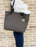 Michael Kors Jet Set Travel Grab Bag Signature Jacquard Handbag Tote Beige Black