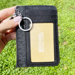 Michael Kors Jet Set Key Ring Top Zip Coin Pouch ID Card Holder Black MK