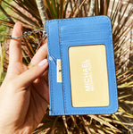 Michael Kors Jet Set Key Ring Top Zip Coin Pouch ID Holder Wallet French Blue